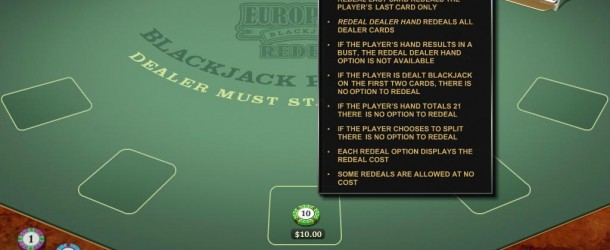 Get a better re-deal with European Redeal Blackjack!